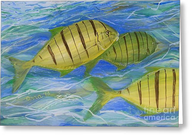 Under The Ocean Glass Art Greeting Cards - Deep Ocean Greeting Card by Anna Skaradzinska