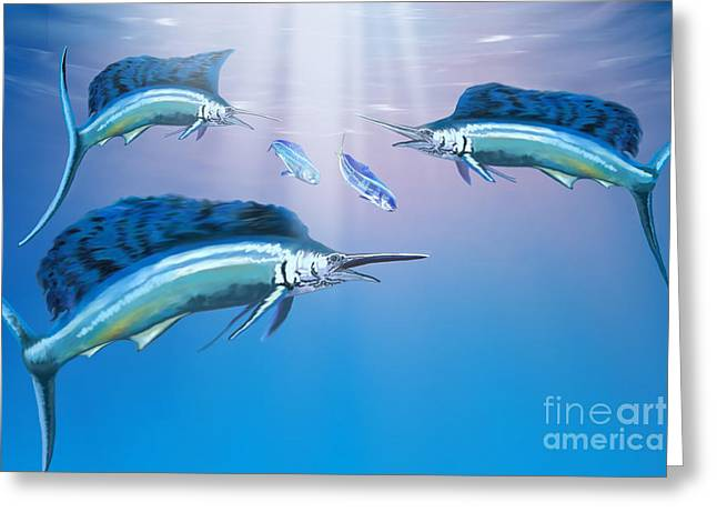 Swordfish Paintings Greeting Cards - Deep Ocean Greeting Card by Corey Ford
