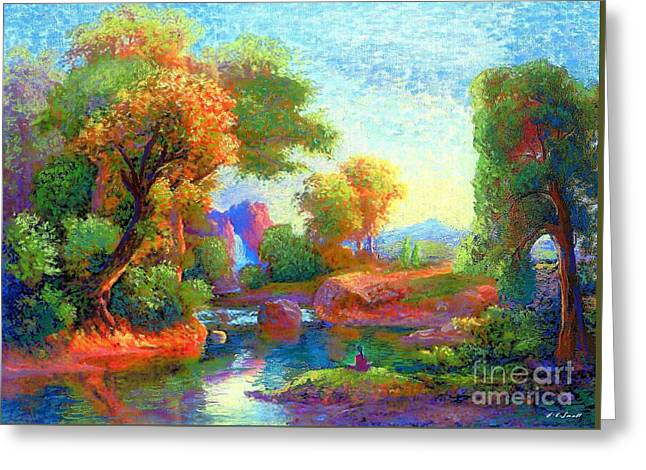 Garden Scene Greeting Cards - Deep Peace Greeting Card by Jane Small