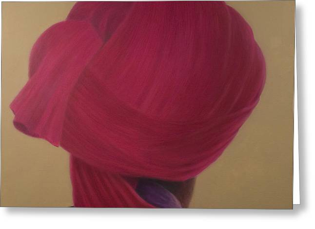 Indian Headdress Greeting Cards - Deep Red Turban, Purple Jacket Greeting Card by Lincoln Seligman