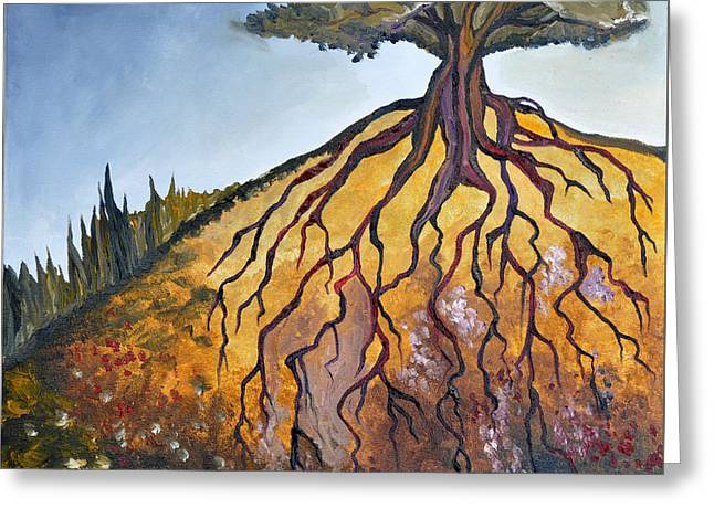 Tree Roots Paintings Greeting Cards - Deep Roots Greeting Card by Cedar Lee