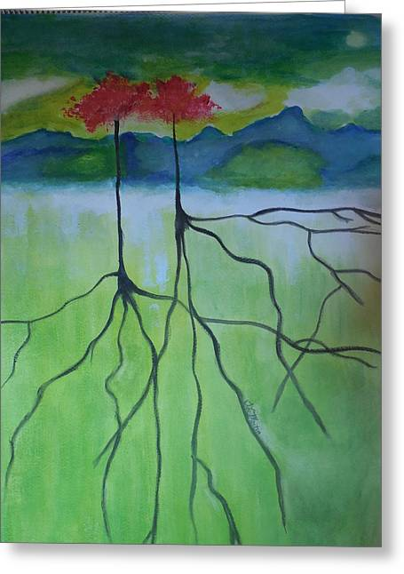 Tree Roots Paintings Greeting Cards - Deep Roots Greeting Card by Tammy McClung