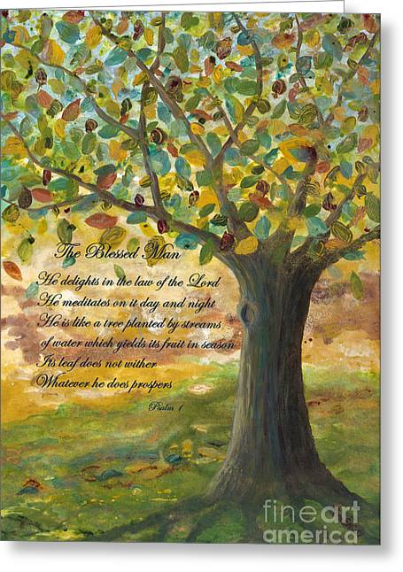 Bible Scripture Canvas Greeting Cards - Deep Roots-with Scripture Greeting Card by Mona Elliott