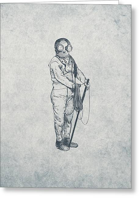 Diving Drawings Greeting Cards - Deep Sea Diver - Nautical Design Greeting Card by World Art Prints And Designs
