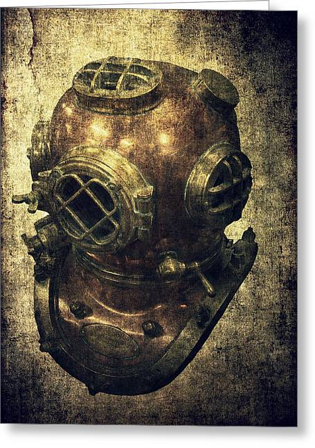 Sea Platform Greeting Cards - Deep Sea Diving Helmet Greeting Card by Daniel Hagerman