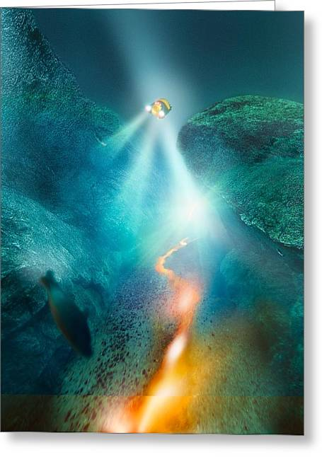 Future Tech Greeting Cards - Deep sea exploration, computer artwork Greeting Card by Science Photo Library
