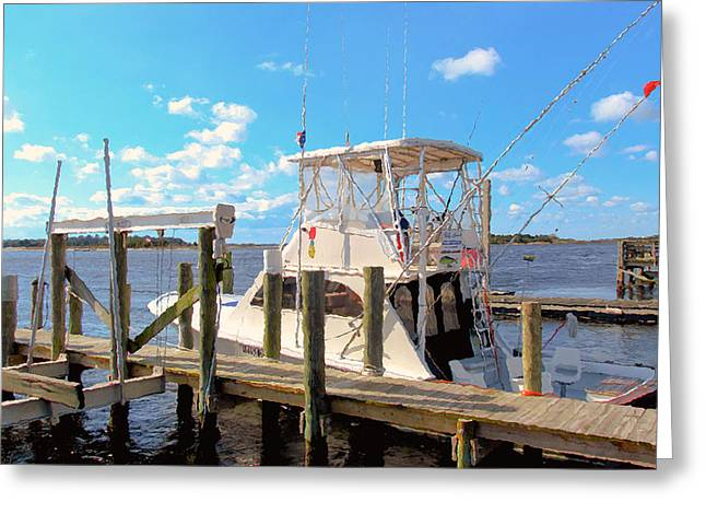 Boats In Reflecting Water Paintings Greeting Cards - Deep Sea Fishing Boats in Swansboro North Carolina 2 Greeting Card by Lanjee Chee