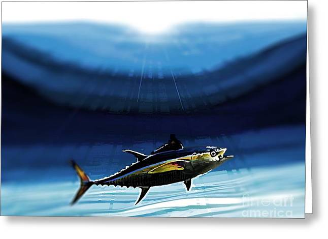 Swordfish Greeting Cards - Deep sea yellow fin tuna Greeting Card by RJ Aguilar