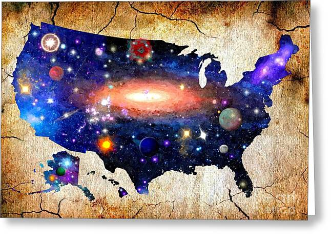 Macrocosm Mixed Media Greeting Cards - Deep Space America Greeting Card by Daniel Janda