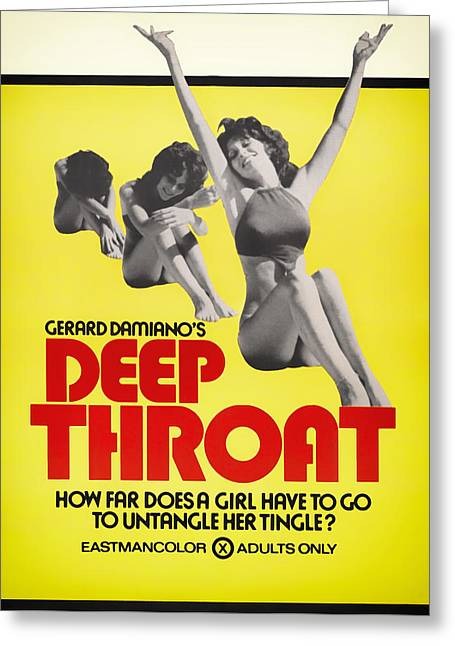 Lithograph Mixed Media Greeting Cards - Deep Throat Movie Poster 1972 Greeting Card by Mountain Dreams