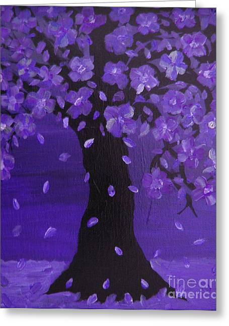 Enhanced Paintings Greeting Cards - Deep Violet Blue Blossoming Tree Design Art Greeting Card by Adri Turner