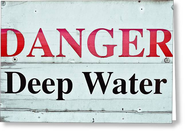 Caution Greeting Cards - Deep water Greeting Card by Tom Gowanlock