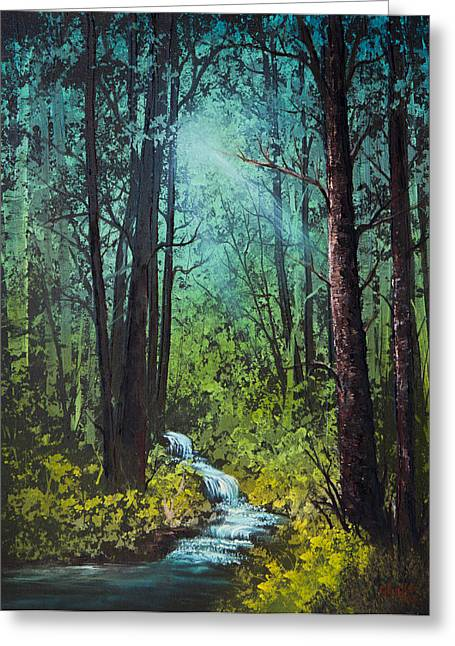 Bob Ross Paintings Greeting Cards - Deep Woods Stream Greeting Card by C Steele