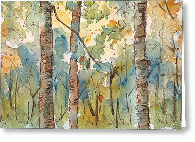 Birch Tree Greeting Cards - Deep Woods Waskesiu Horizontal Greeting Card by Pat Katz
