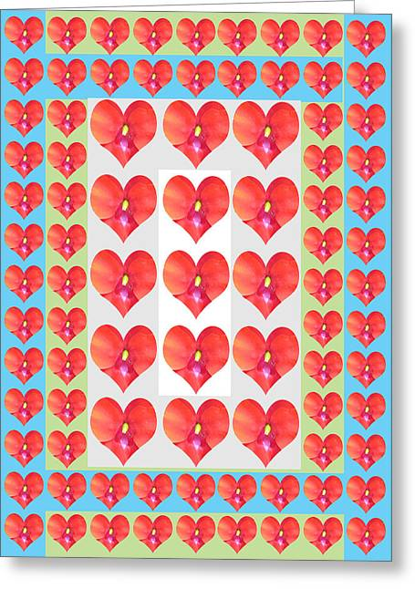 Gay Relationship Greeting Cards - Deeply In Love Cherryhill Flower Petal Based Sweet Heart Pattern Colormania Graphics Greeting Card by Navin Joshi