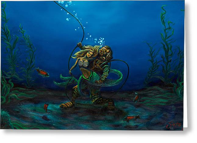 Aquaman Greeting Cards - Deepsea Love Greeting Card by Andres  Soto