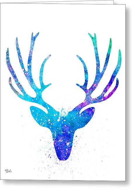 Silhouette Art Greeting Cards - Deer 2 Greeting Card by Slaveika Aladjova