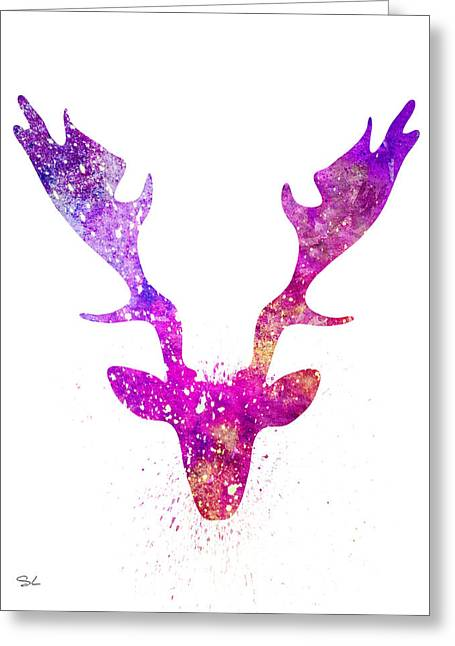 Silhouette Art Greeting Cards - Deer 3 Greeting Card by Slaveika Aladjova