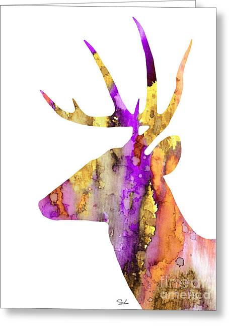 Silhouette Art Greeting Cards - Deer 5 Greeting Card by Slaveika Aladjova
