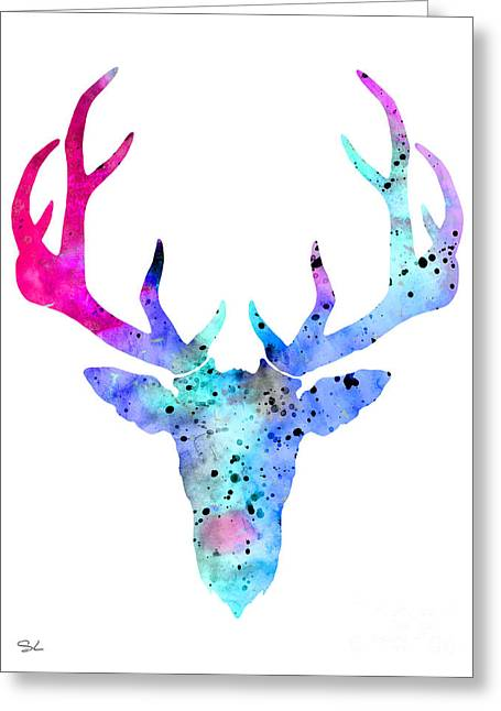 Silhouette Art Greeting Cards - Deer 6 Greeting Card by Lyubomir Kanelov