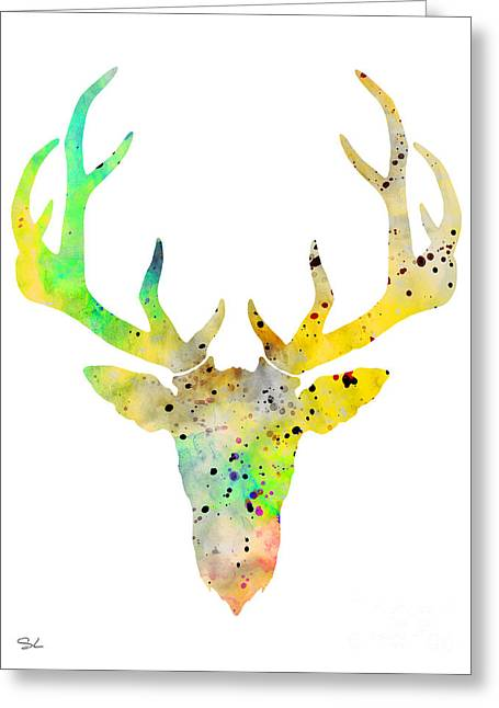 Silhouette Art Greeting Cards - Deer 7 Greeting Card by Lyubomir Kanelov