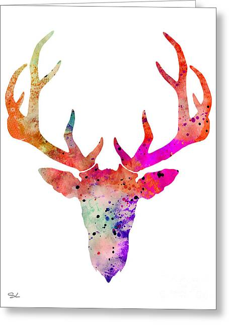 Silhouette Art Greeting Cards - Deer 8 Greeting Card by Lyubomir Kanelov