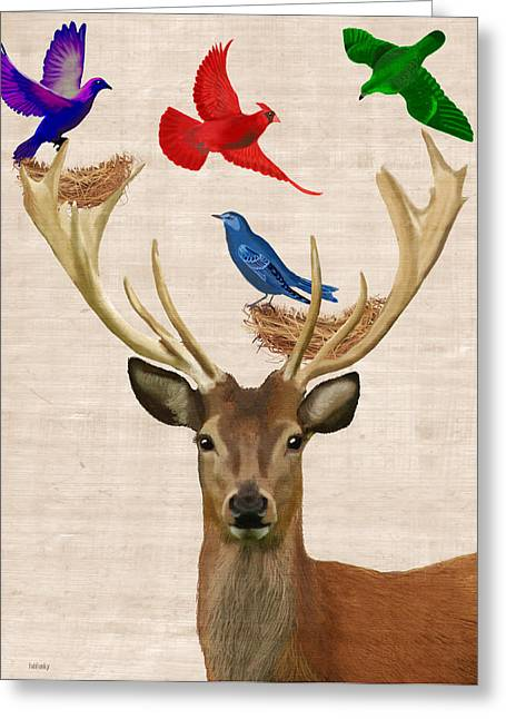 Animal Portraits Greeting Cards - Deer and birds nests Greeting Card by Kelly McLaughlan
