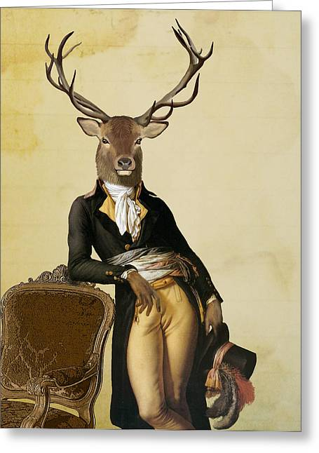 Deer And Chair Greeting Card by Loopylolly