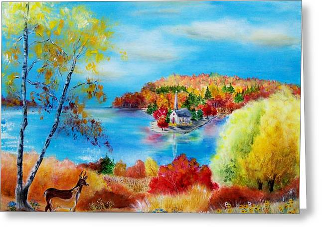 Deer And Country Church Autumn Scene Greeting Card by Melanie Palmer