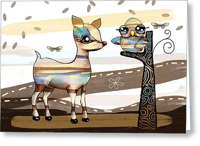 Deer And Owl Greeting Card by Karin Taylor
