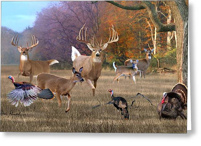 Metal Art Greeting Cards - Deer Art - Field of Dreams Greeting Card by Dale Kunkel Art