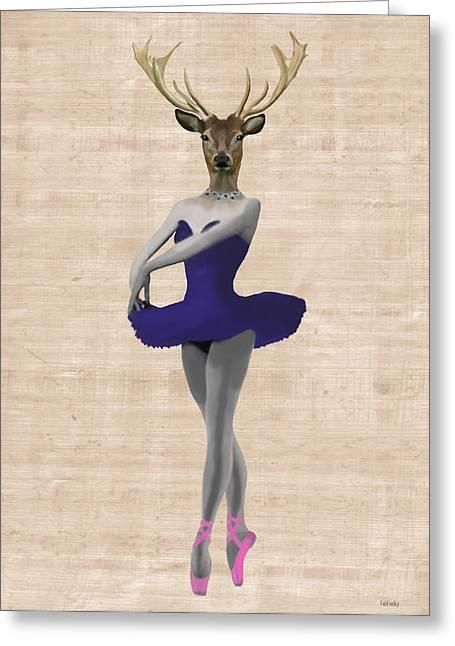 Tutu Digital Art Greeting Cards - Deer Ballet Dancer Blue Greeting Card by Kelly McLaughlan