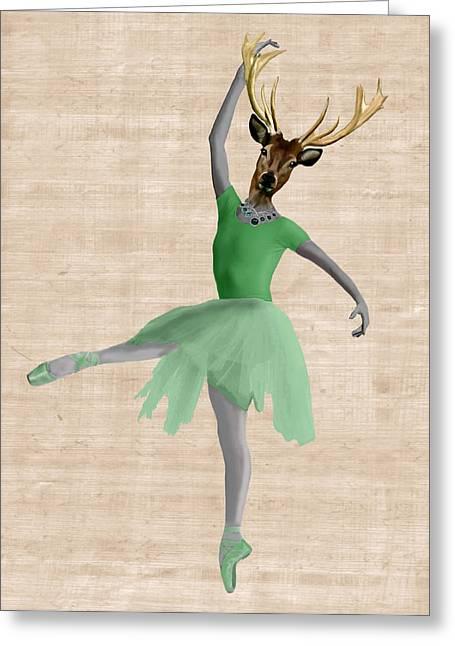 Tutu Digital Art Greeting Cards - Deer Ballet Dancer Green Greeting Card by Kelly McLaughlan