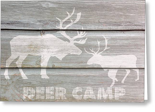 Deer Camp Greeting Cards - Deer Camp Greeting Card by Celestial Images