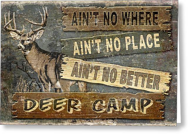 Hunting Camp Greeting Cards - Deer Camp Greeting Card by JQ Licensing