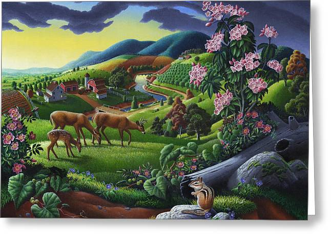 Folk Realism Greeting Cards - Deer Chipmunk Summer Appalachian Folk Art - Rural Country Farm Landscape - Americana  Greeting Card by Walt Curlee