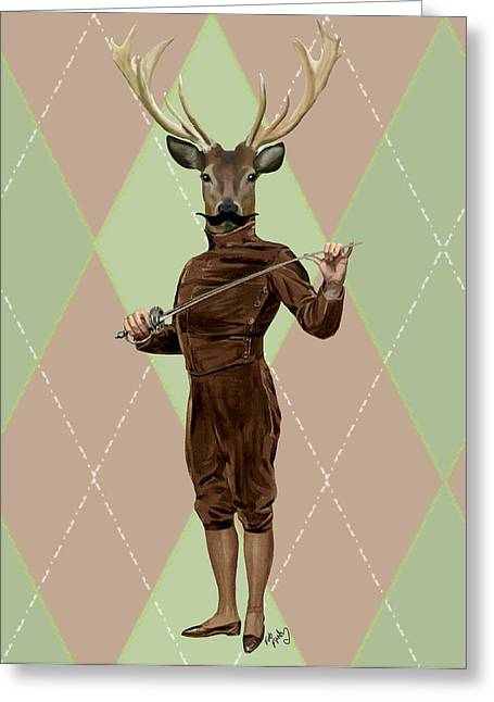 Sports Framed Prints Greeting Cards - Deer Fencer Full Greeting Card by Kelly McLaughlan