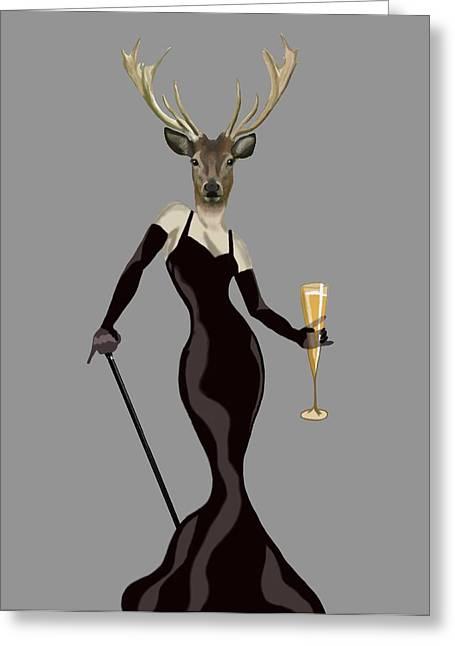 Print Dress Greeting Cards - Deer Glamour Deer Black Greeting Card by Loopylolly