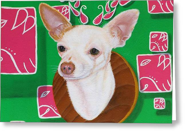 Mayan Dog Greeting Cards - Deer Head Chihuahua Greeting Card by Adrian Ramos