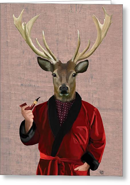 Wall Decor Framed Prints Greeting Cards - Deer in a Smoking Jacket Greeting Card by Kelly McLaughlan