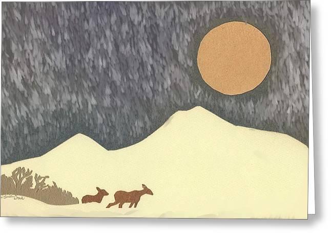 Snowstorm Drawings Greeting Cards - Deer in Moonlight - paper cut Greeting Card by Dawn Senior-Trask