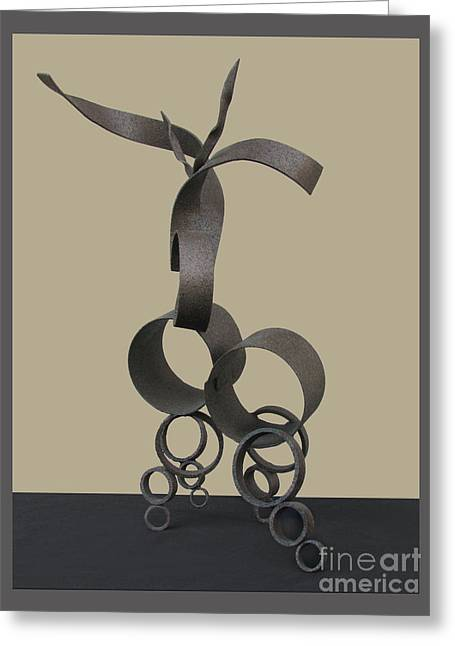 Steel Sculptures Greeting Cards - Deer in Repose Greeting Card by Peter Piatt