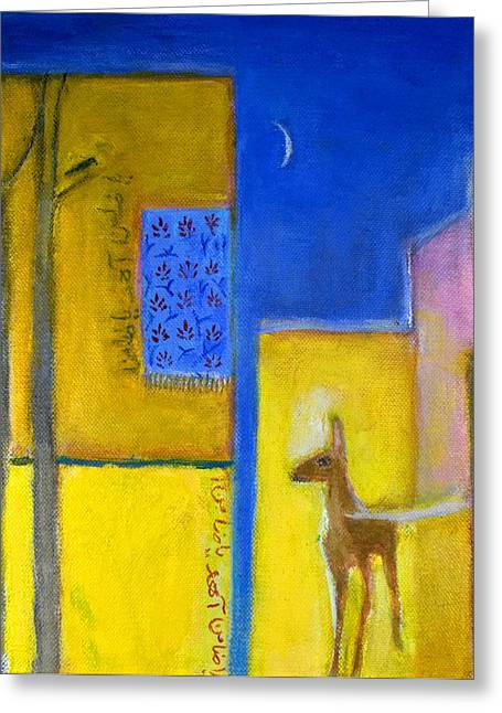 Persia Greeting Cards - Deer In The City, 2011 Oil On Canvas Greeting Card by Roya Salari