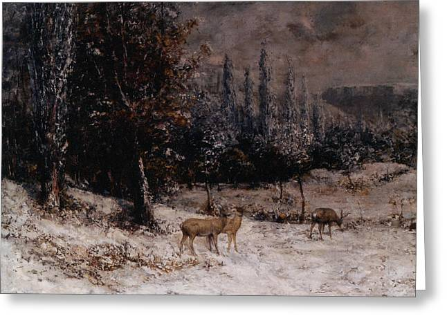 Snow Scene Digital Greeting Cards - Deer in the Snow Greeting Card by Gustave  Courbet