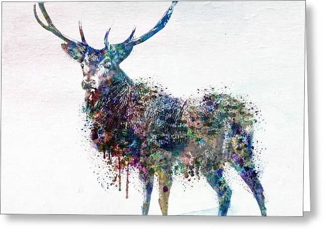 Sized Mixed Media Greeting Cards - Deer in watercolor Greeting Card by Marian Voicu