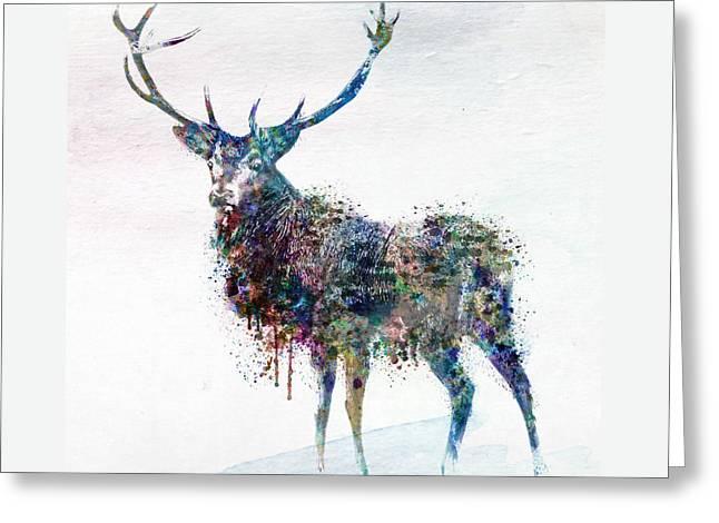 Deer In Watercolor Greeting Card by Marian Voicu