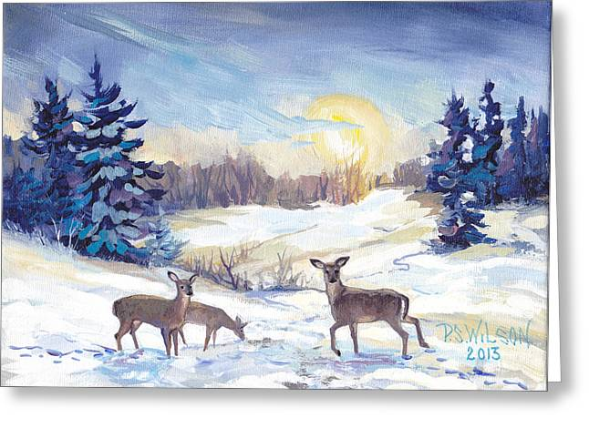 Trees In Snow Greeting Cards - Deer In Winter Landscape  Greeting Card by Peggy Wilson