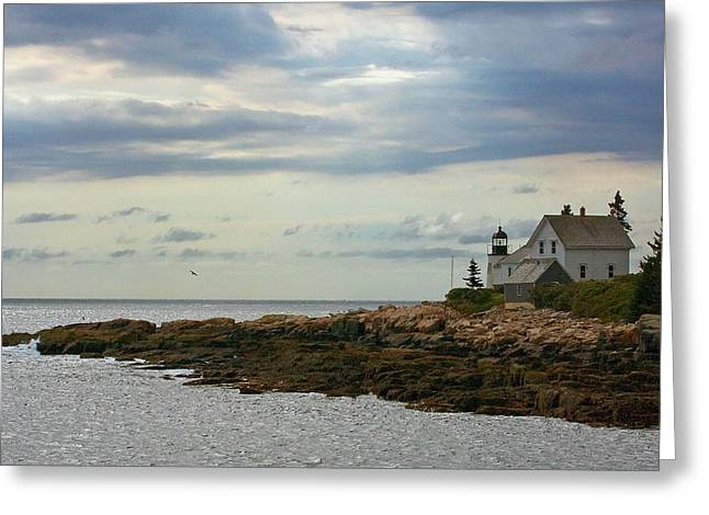 Old Maine Houses Greeting Cards - Deer Isle Light Greeting Card by Stuart Litoff