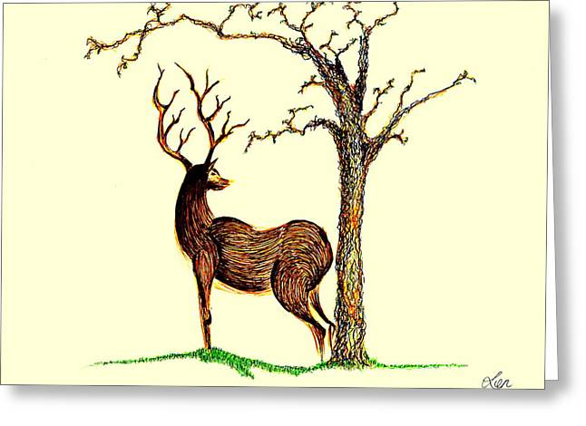 Wild Life Drawings Greeting Cards - Deer Greeting Card by Len YewHeng