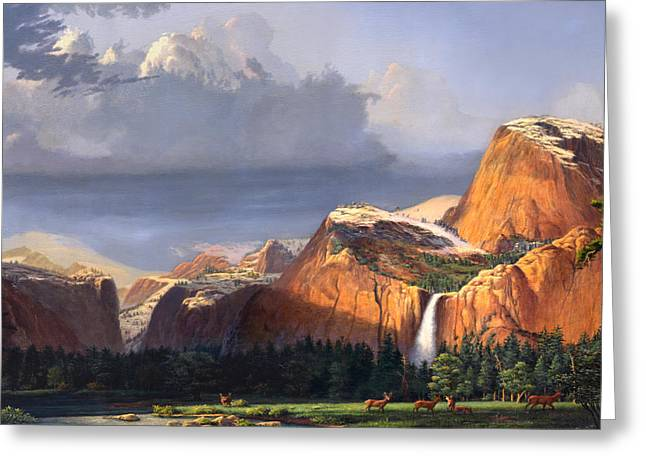 Park Scene Paintings Greeting Cards - Deer Meadow Mountains Western stream Deer waterfall Landscape - Square Format Greeting Card by Walt Curlee